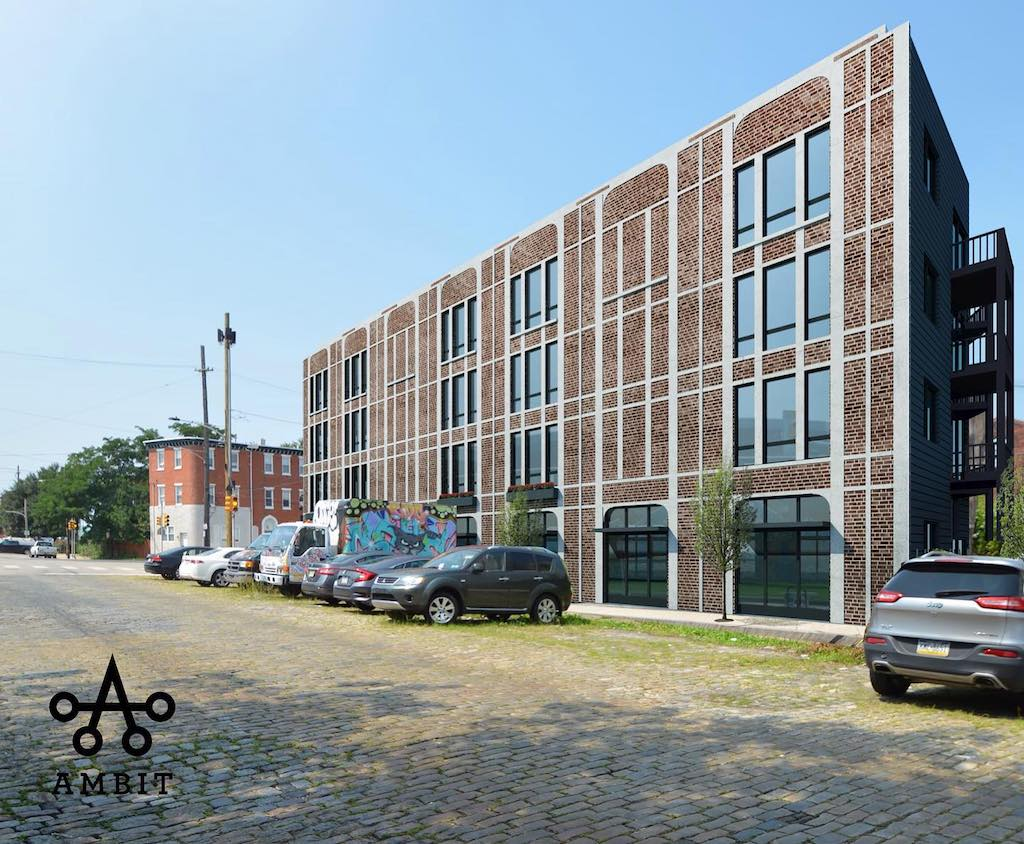 Rendering of proposed Fishtown Flatiron building as seen from Trenton Avenue. Credit: Ambit Architecture.