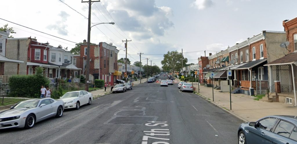 North 57th Street, with 1454 North 57th Street on the left. Looking north. Credit: Google