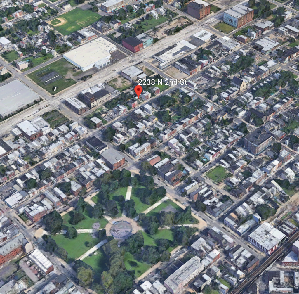 Aerial view of 2238 North 2md Street. Credit: Google.