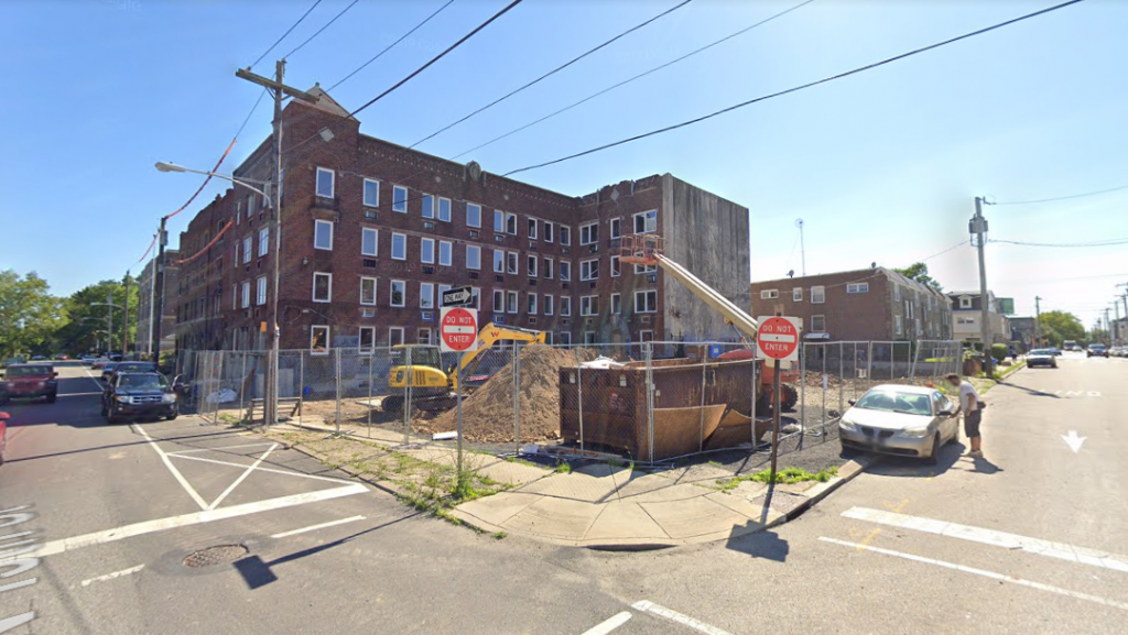 Fern Rock Courts at 5840-50 North 13th Street. Looking southwest. June 2019. Credit: Google