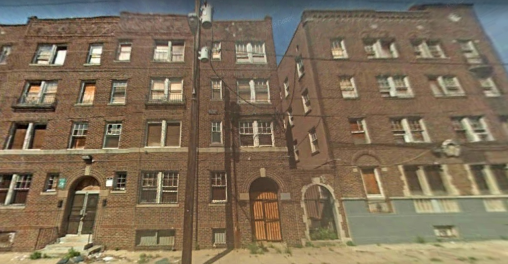 Fern Rock Courts at 5424-38 North 13th Street (left) and 5840-50 North 13th Street (right). Looking west. August 2008. Credit: Google
