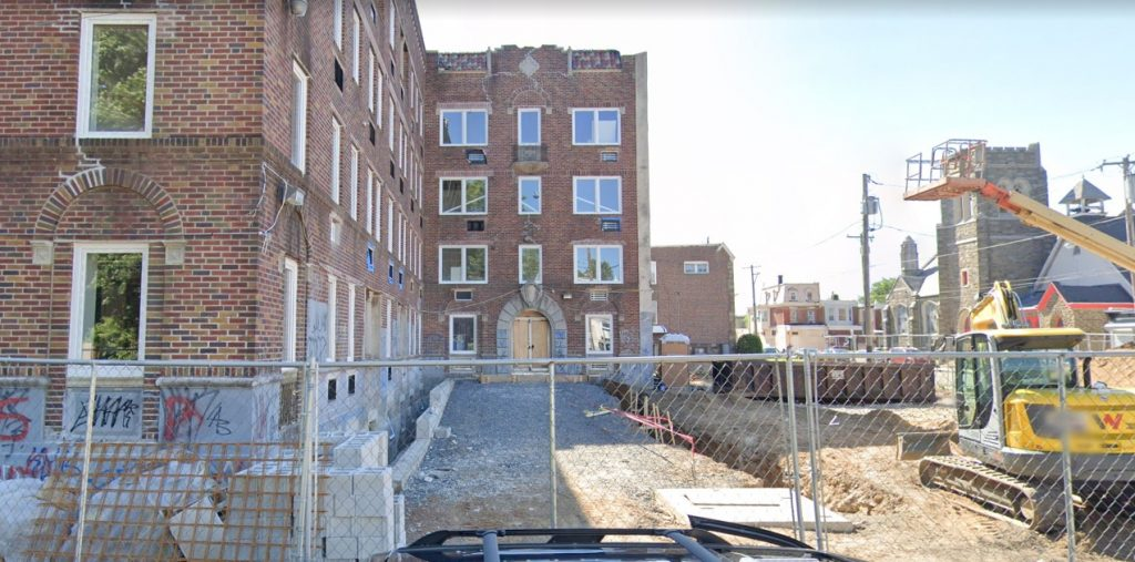 Fern Rock Courts at 5840-50 North 13th Street. Looking west. June 2019. Credit: Google