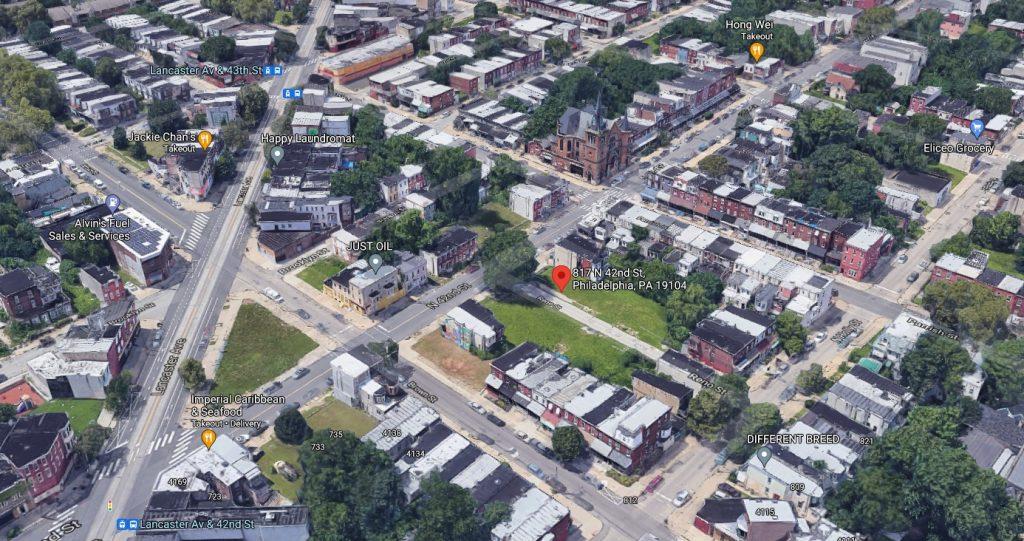817-19 North 42nd Street. Looking northwest. Credit: Google