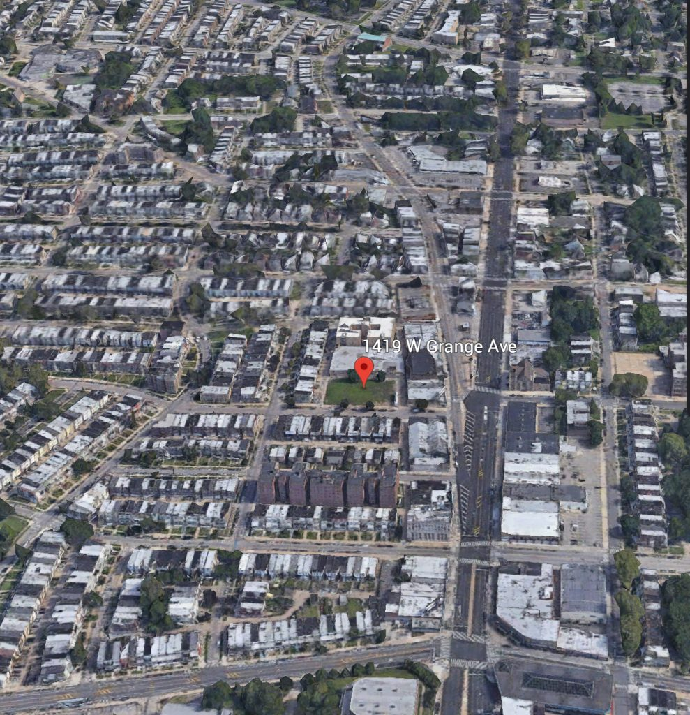 Aerial view of 1419 West Grange Avenue. Credit: Google.