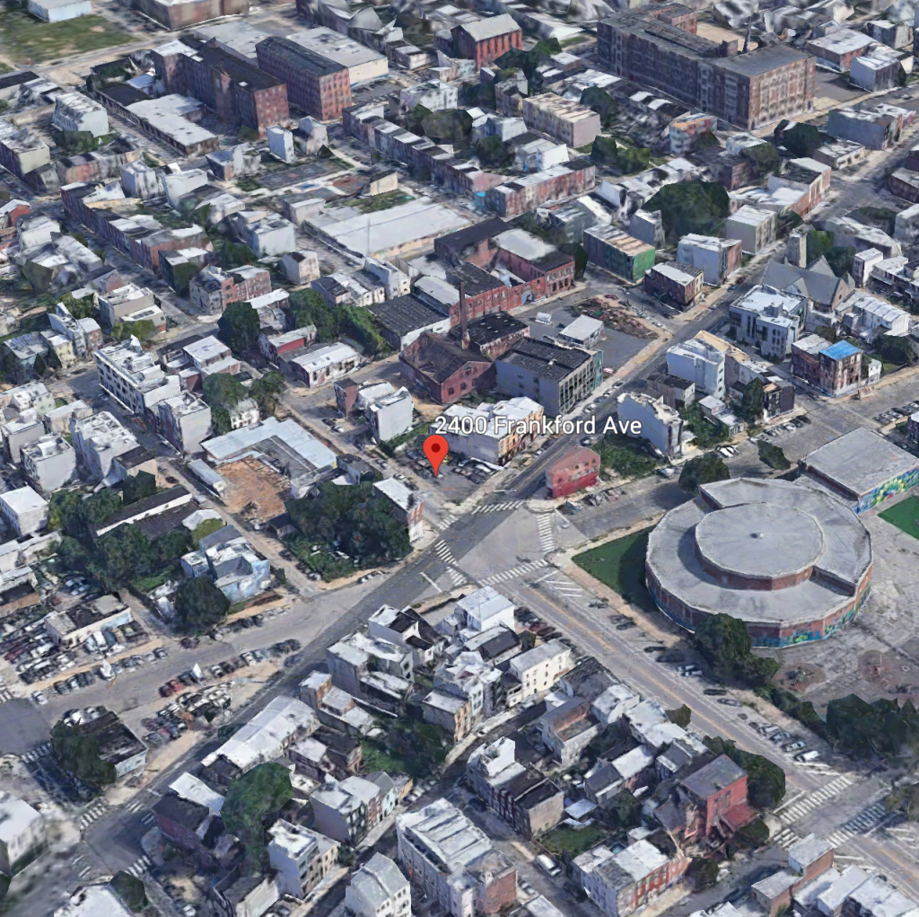 Aerial view of 2400-04 Frankford Avenue. Credit: Google.