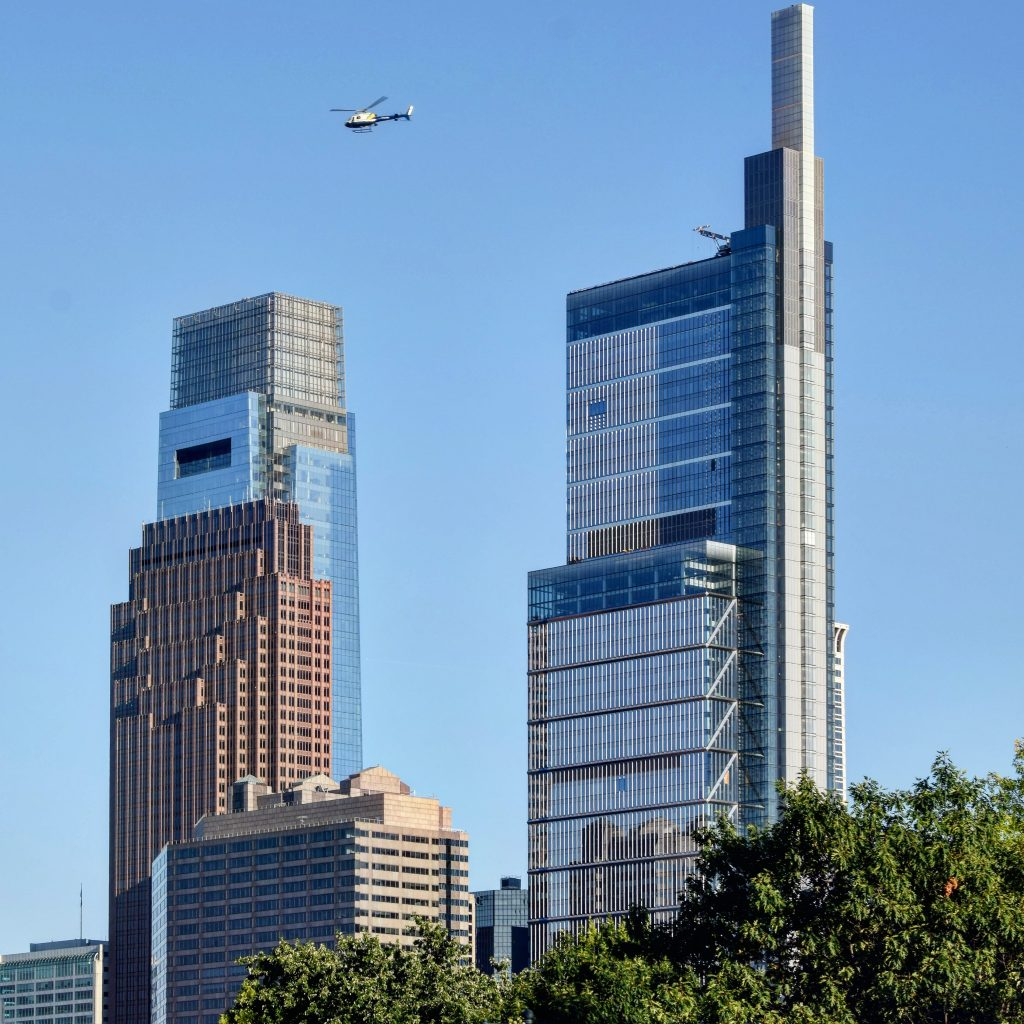 Bell Atlantic Tower (left) from the Benjamin Franklin Parkway. Photo by Thomas Koloski