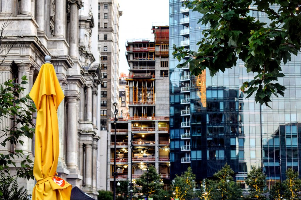 W/Element Hotel under construction from Dilworth Park. Photo by Thomas Koloski