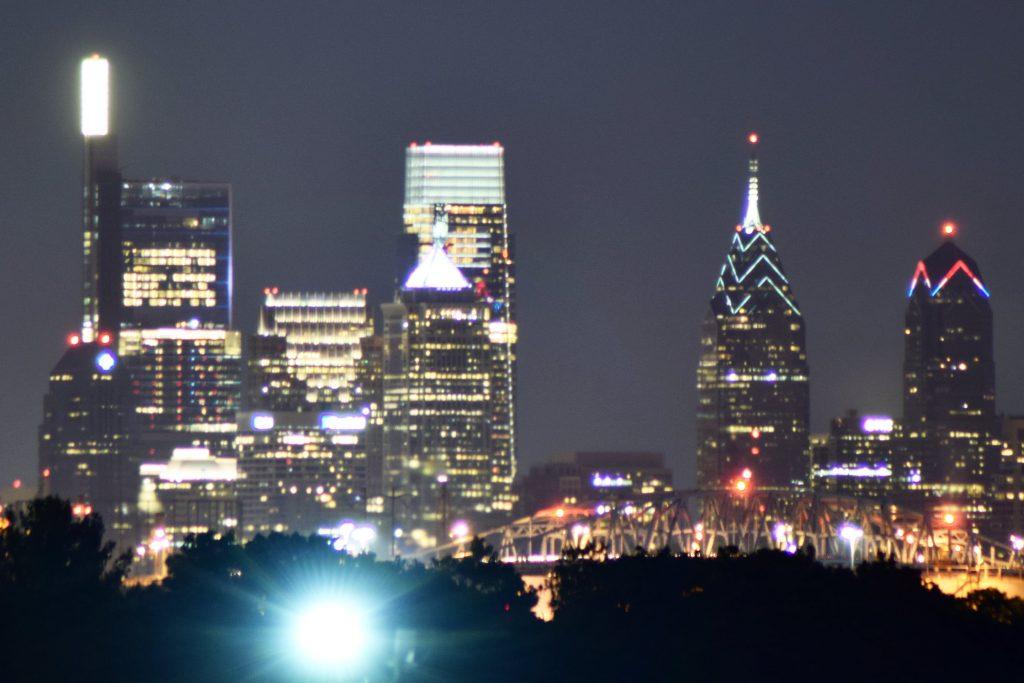 Comcast Technology Center lantern testing from Paulsboro. Photo by Thomas Koloski