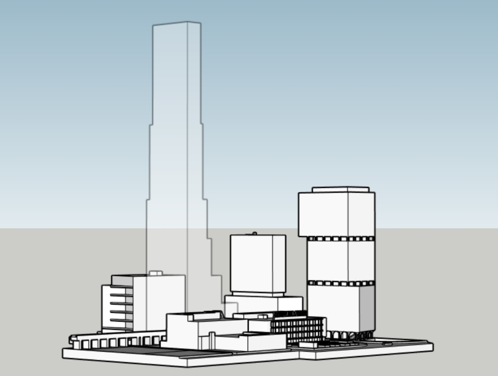 Schuylkill Yards massing with supertall. Models and image by Thomas Koloski