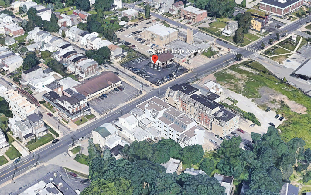 Aerial view of 6618-24 Ridge Avenue. Credit: Google.