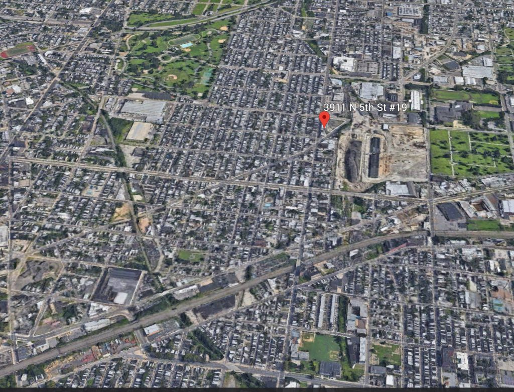 Aerial view of 3911-19 North 3rd Street's location. Credit: Google.