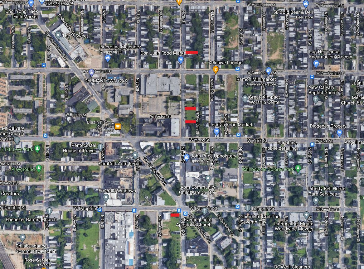 South to north: 2260, 2411, 2419, 2509 North 7th Street. Credit: Google Maps