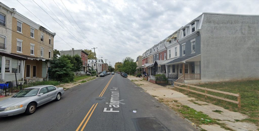 Fairmount Avenue, with 3913 Fairmount Avenue on the right. Looking west. Credit: Google Maps