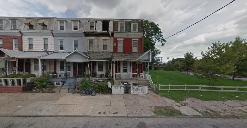 3911 and 3913 Fairmount Avenue, before demolition. Looking north. August 2017. Credit: Google Maps