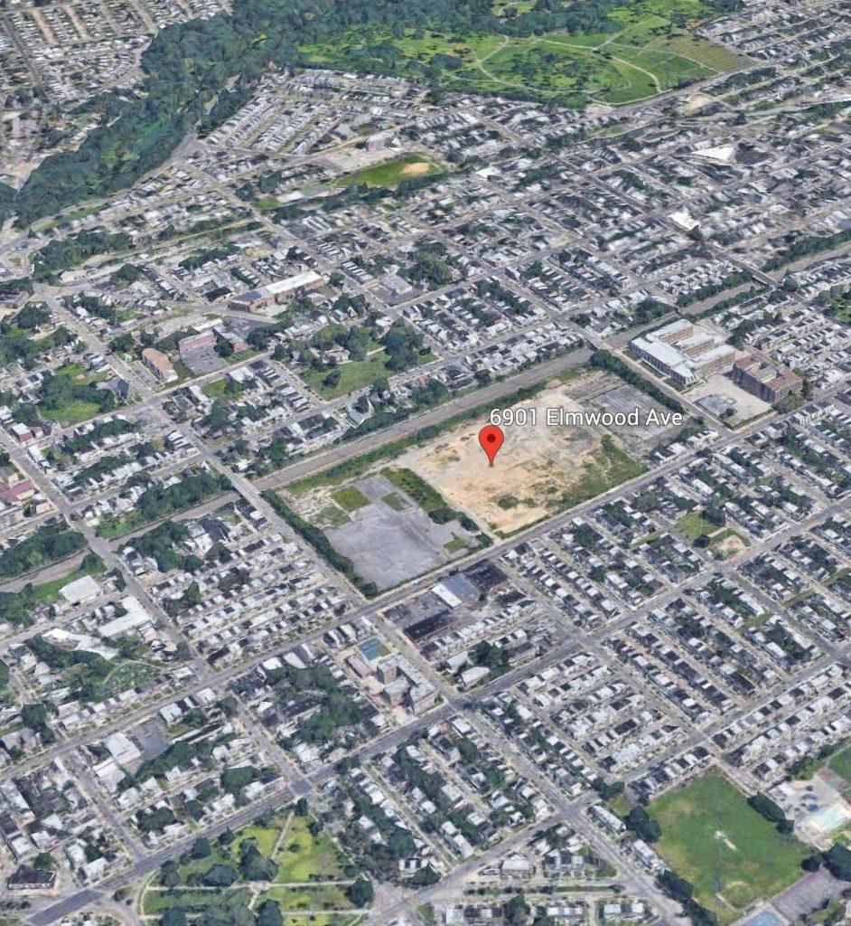 Aerial view of 6901 Elmwood Avenue. Credit: Google.