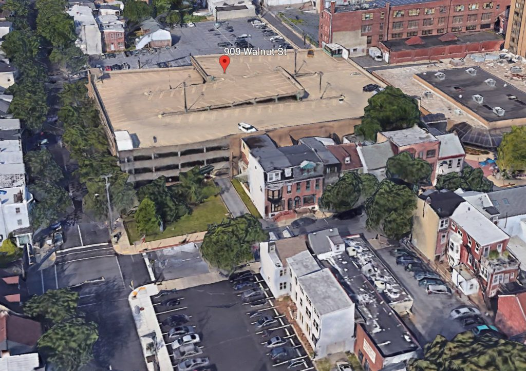 Aerial view of the 909 West Walnut Street. Credit: Google.