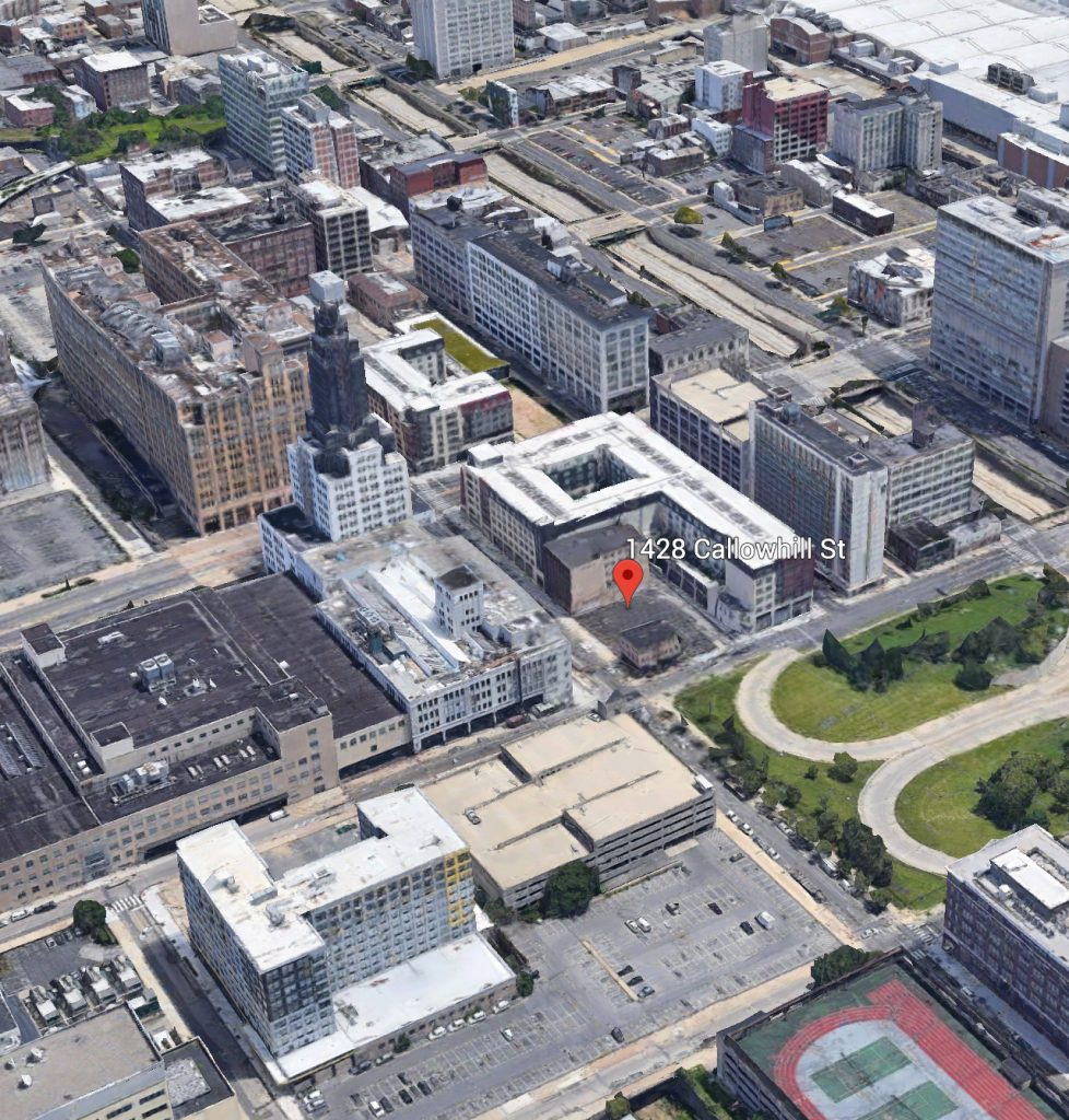 Aerial view of 1428-38 Callowhill Street. Credit: Google.