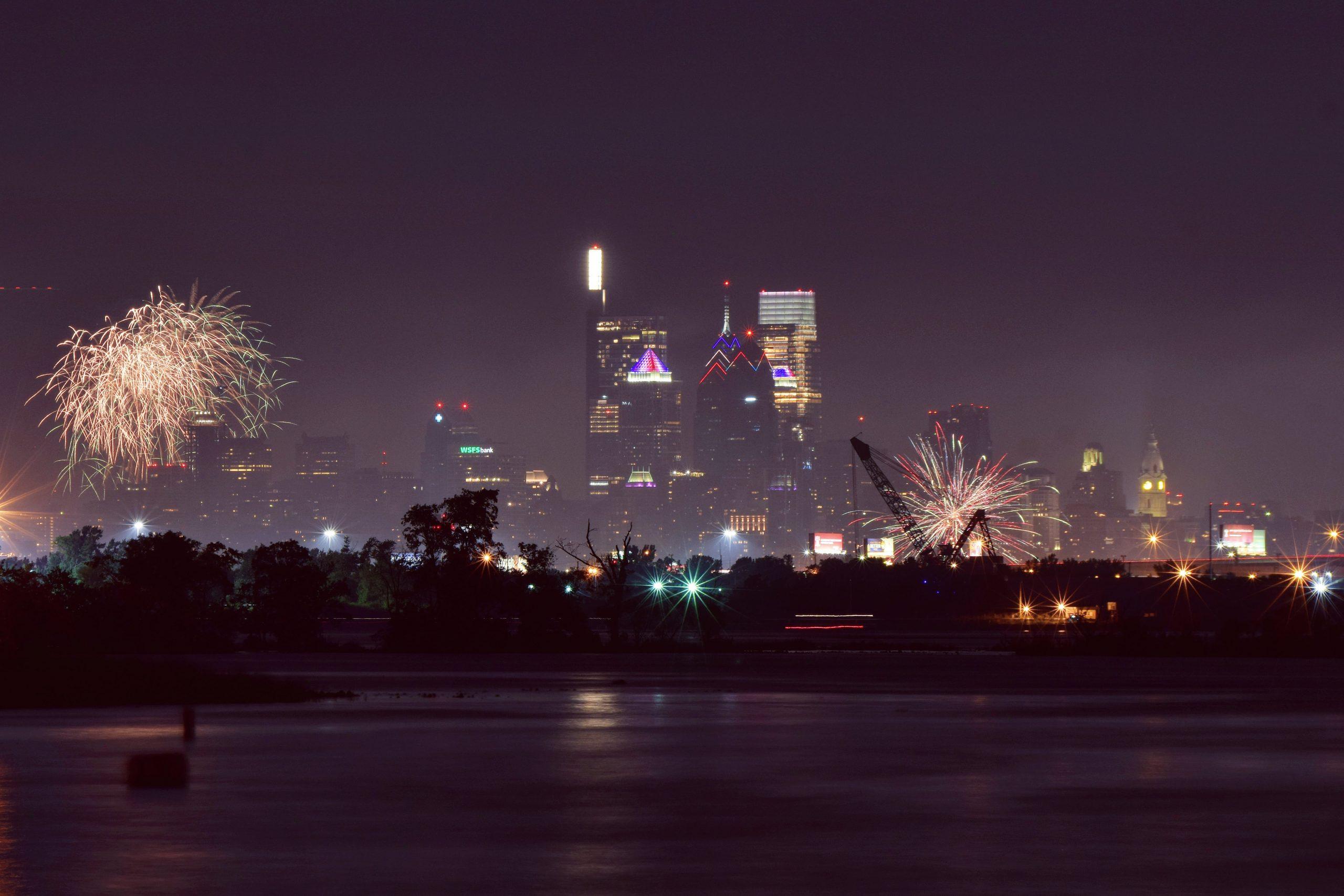 Wawa Welcome America fireworks and the Philadelphia skyline from New Jersey. Photo by Thomas Koloski