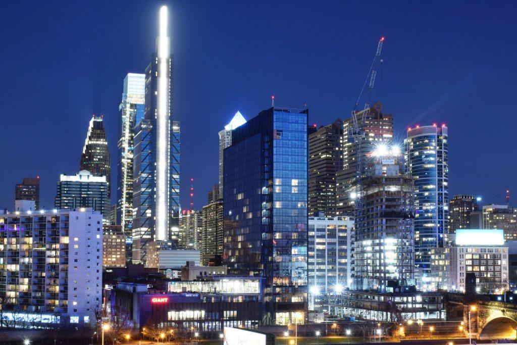 Mellon Bank Center lighting seen in the skyline. Photo by Thomas Koloski
