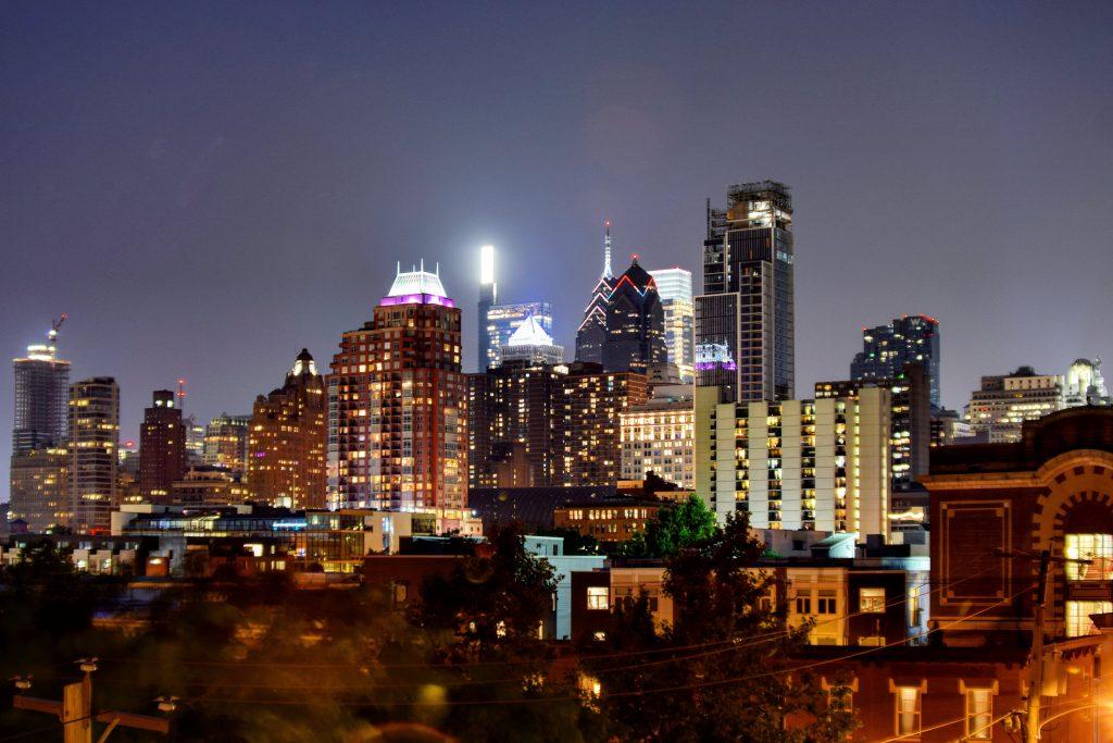 The Laurel Rittenhouse in the Philadelphia skyline from Washington Square West. Photo by Thomas Koloski