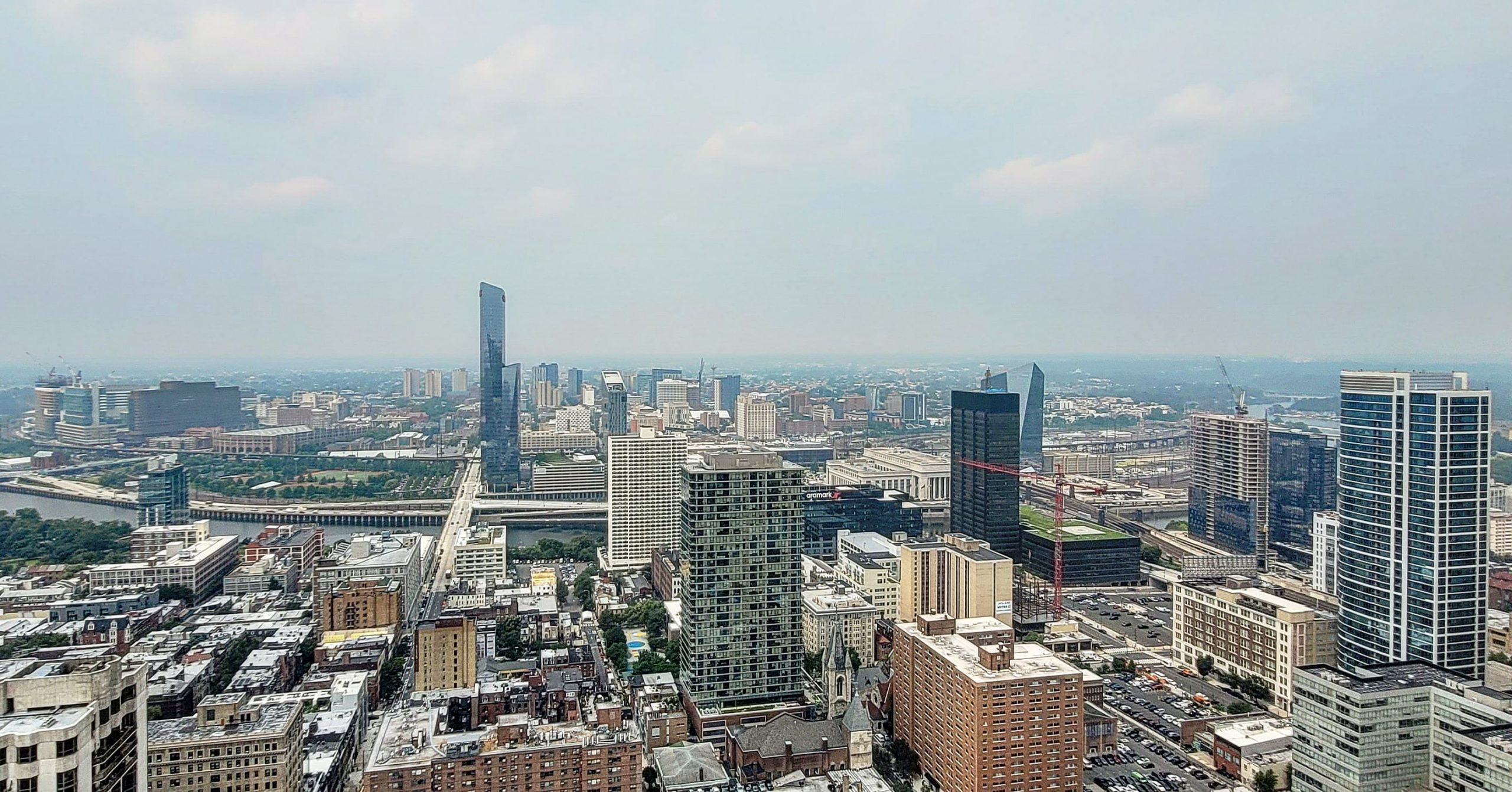 The view from The Laurel Rittenhouse looking west toward Center City West and University City. Photo by Thomas Koloski