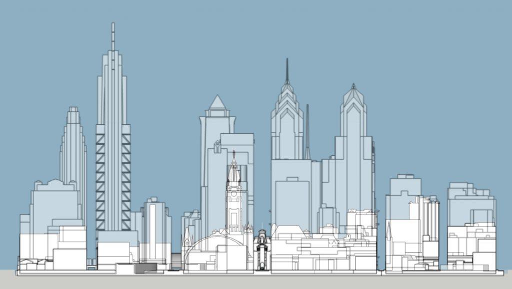 Philadelphia 1905 and 2020 skyline west elevation. Models and images by Thomas Koloski