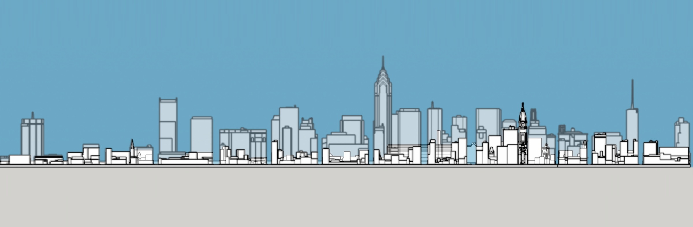 Philadelphia skyline 1905 and 1987 south elevation. Photo by Thomas Koloski