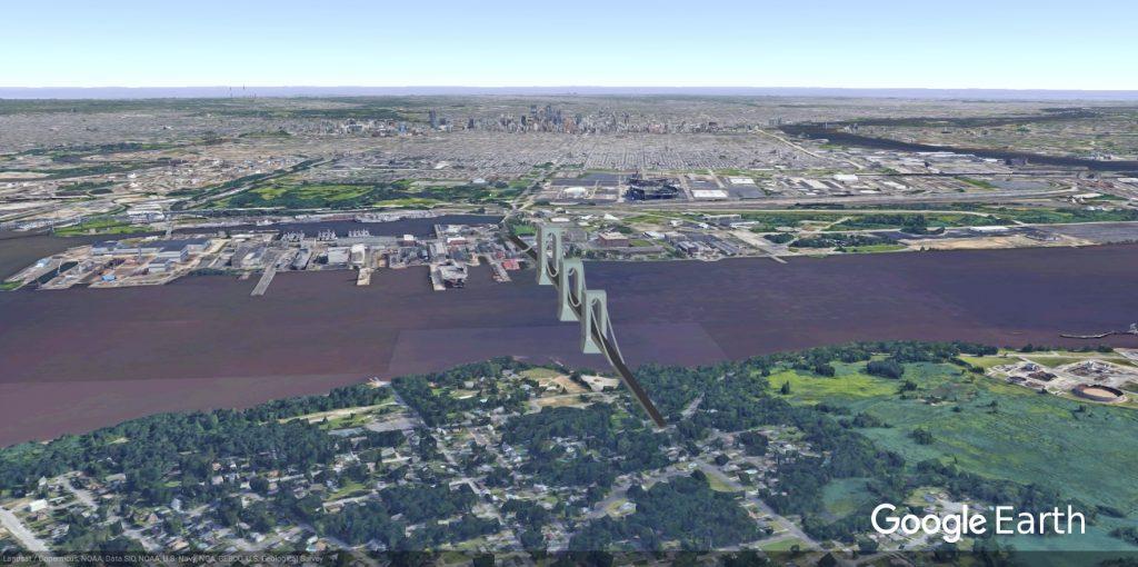 Philadelphia-Red Bank Bridge rendering. Image via Google Earth, edit by Thomas Koloski