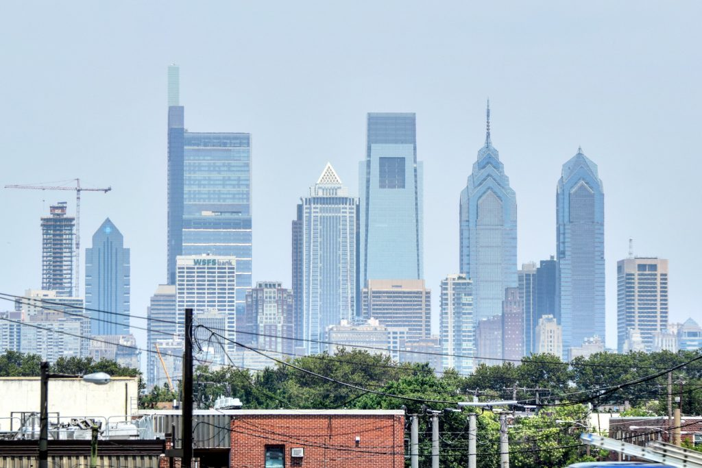 The Laurel Rittenhouse in the Philadelphia skyline from the I-95 looking north. Photo by Thomas Koloski