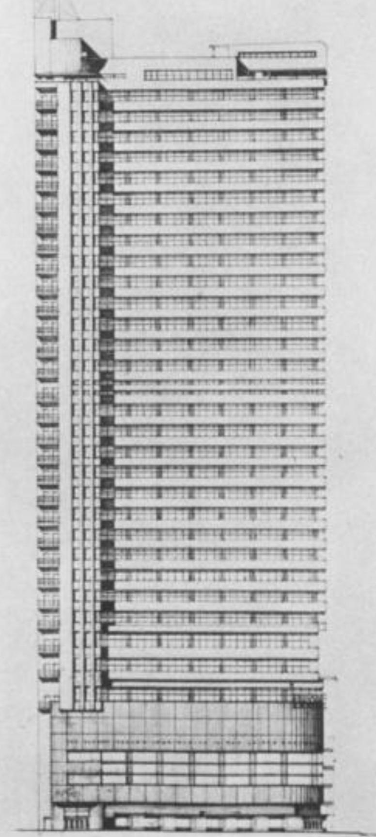 Fourth scheme of the PSFS Building. Image via George Howe and William Edmond Lescaze