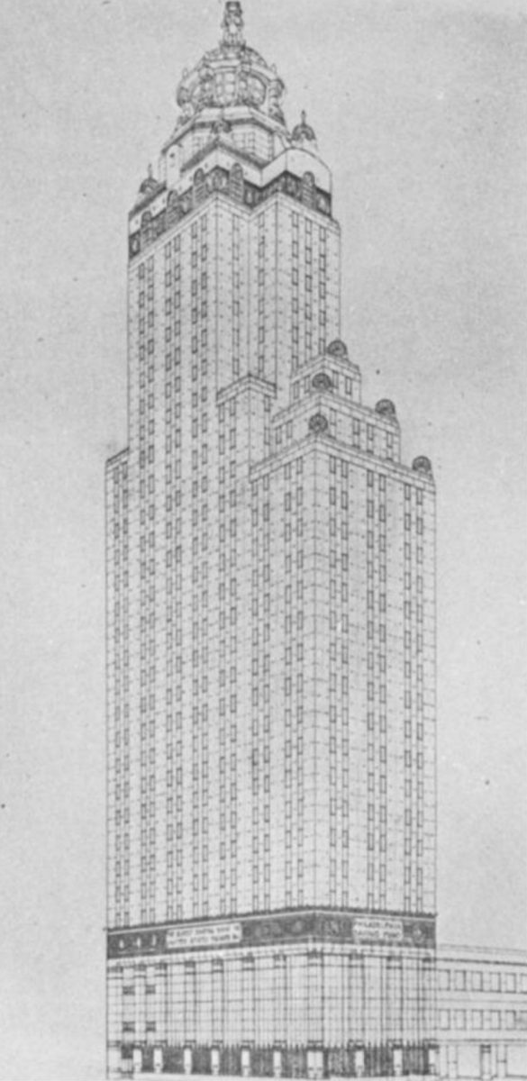 First scheme of the PSFS Building. Image via George Howe