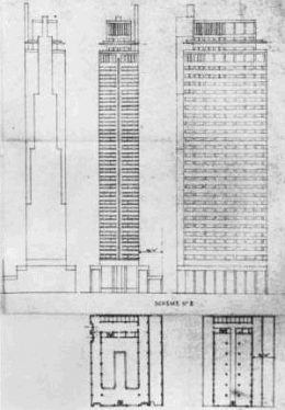 Second scheme of the PSFS Building. Image via George Howe and William Edmond Lescaze