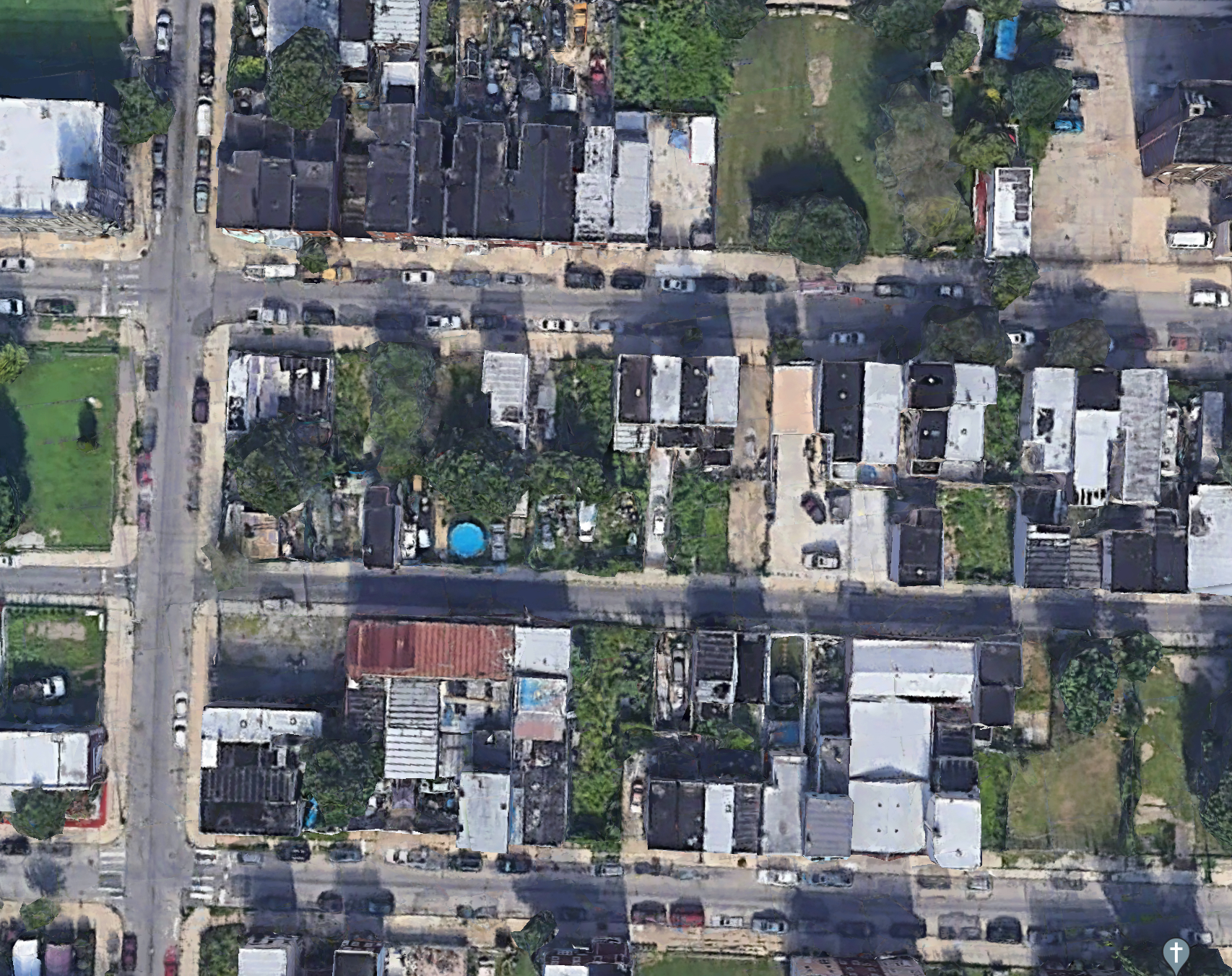 Aerial view of 2400 Block of Mutter Street. Credit: Google.