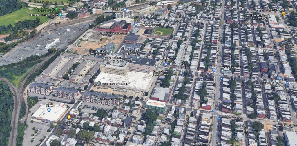 The western section of Brewerytown. Looking north. Credit: Google Maps