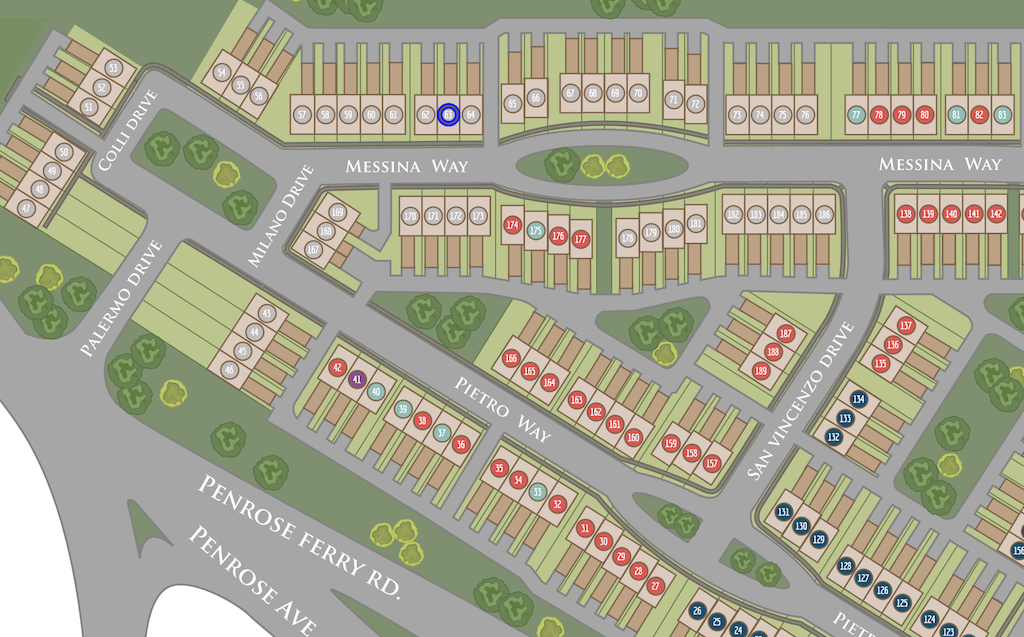 Aerial site plan of Siena Place.