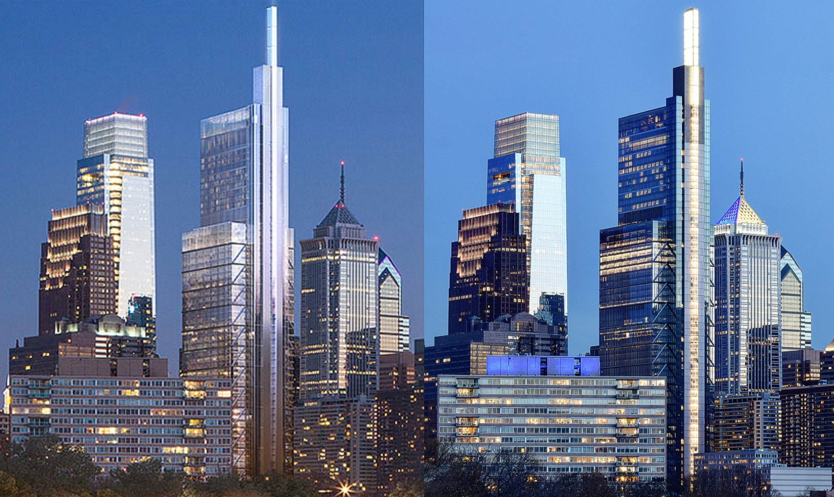Comcast Technology Center 2014 and current design from Spring Garden Street Bridge. Left: image by Foster and Partners. Right: Photo by Thomas Koloski
