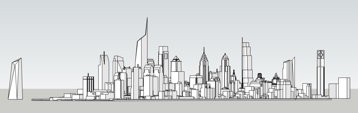 Philadelphia skyline with unbuilt proposals looking northeast. Image and models by Thomas Koloski