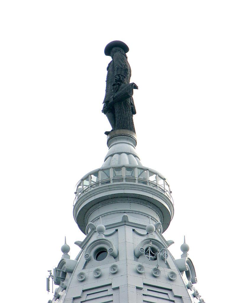 The William Penn statue atop City Hall. Credit: James Mitchell via Wikipedia