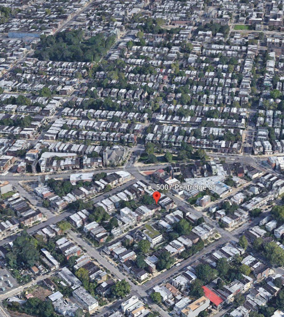 Aerial view of 5007 Pentridge Street. Credit: Google.