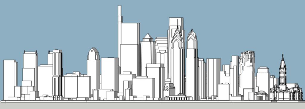 Philadelphia 2019 massing as of June 2019. Models and image by Thomas Koloski