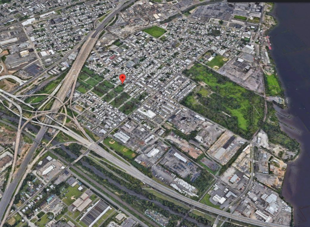 Aerial view of 4329 East Thompson Street. Credit: Google.