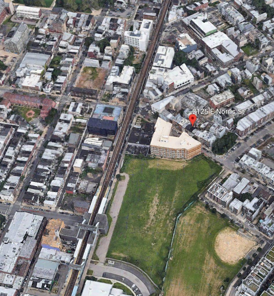 Aerial view of 2125 East Norris Street. Credit: Google.