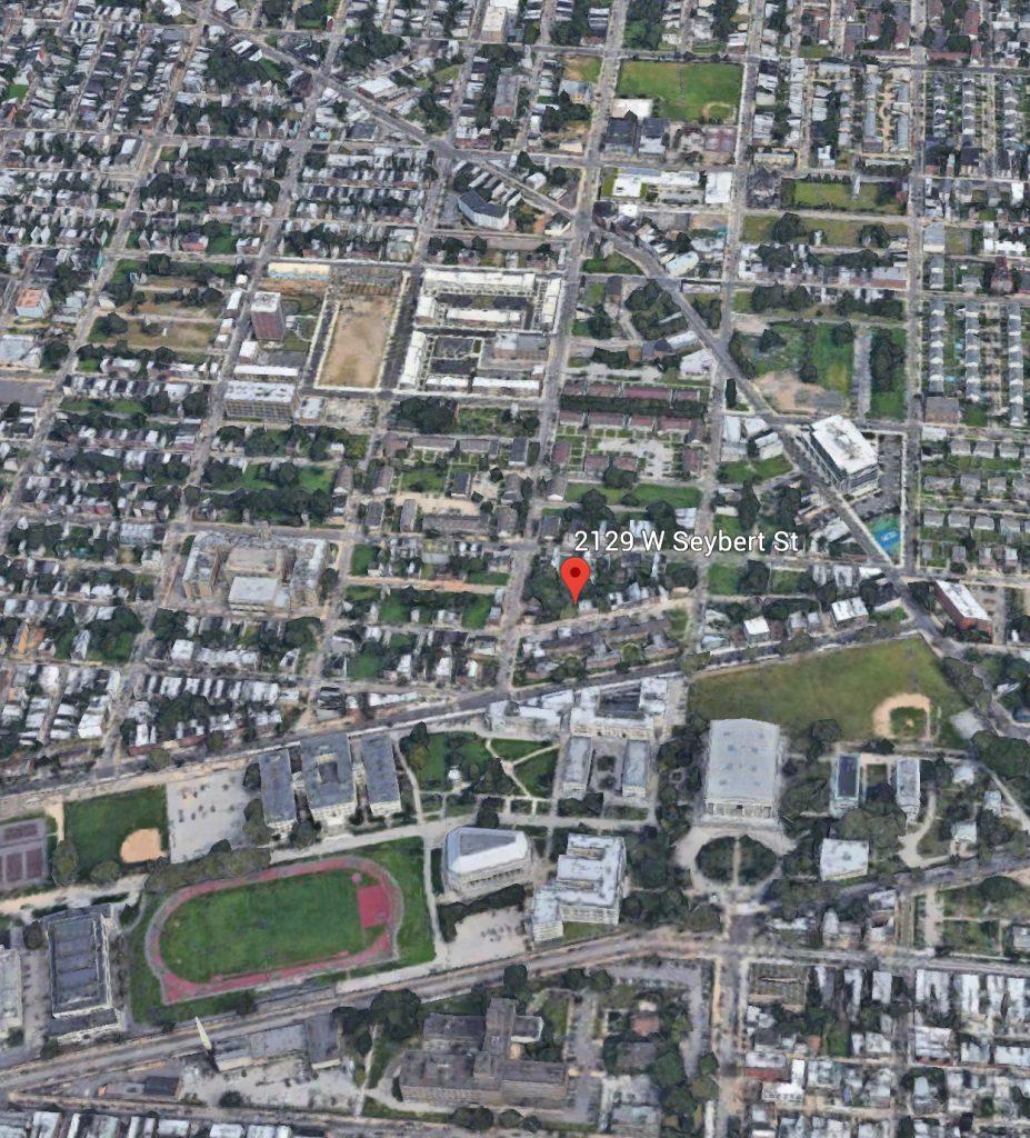 Aerial view of 2129 Seybert Street. Credit: Google.