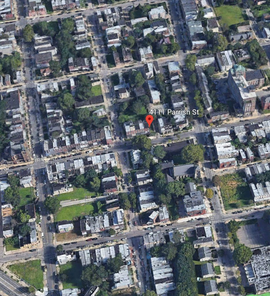 Aerial view of 4111 Parrish Street. Credit: Google.