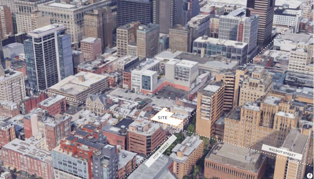 Aerial view of 1101 Walnut Street site. Credit: JKRP Architects.