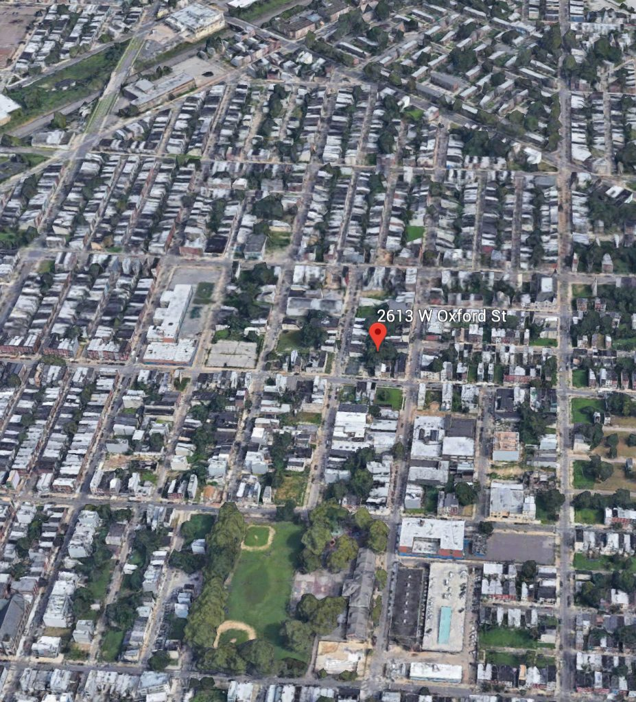 Aerial view of 2613 West Oxford Street. Credit: Google.