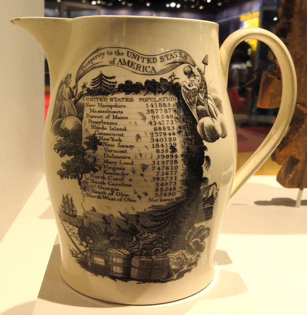 Commemorative pitcher with 1790 census results. Credit: Daderot via Wikipedia