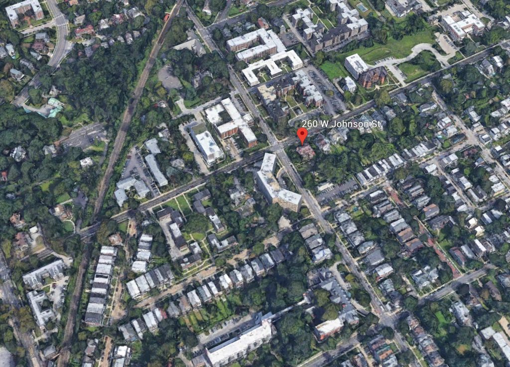 Aerial view of 260 West Johnson Street. Credit: Google.