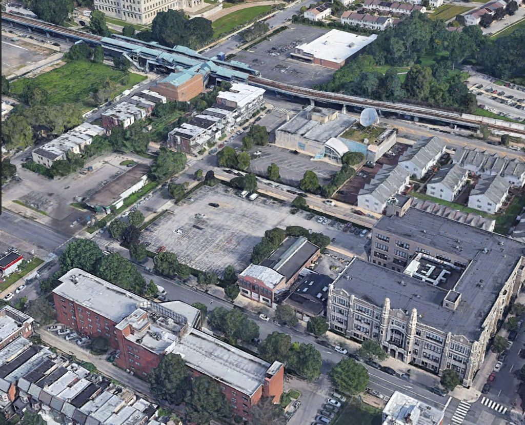 Aerial view of 4519 Chestnut Street. Credit: Google.