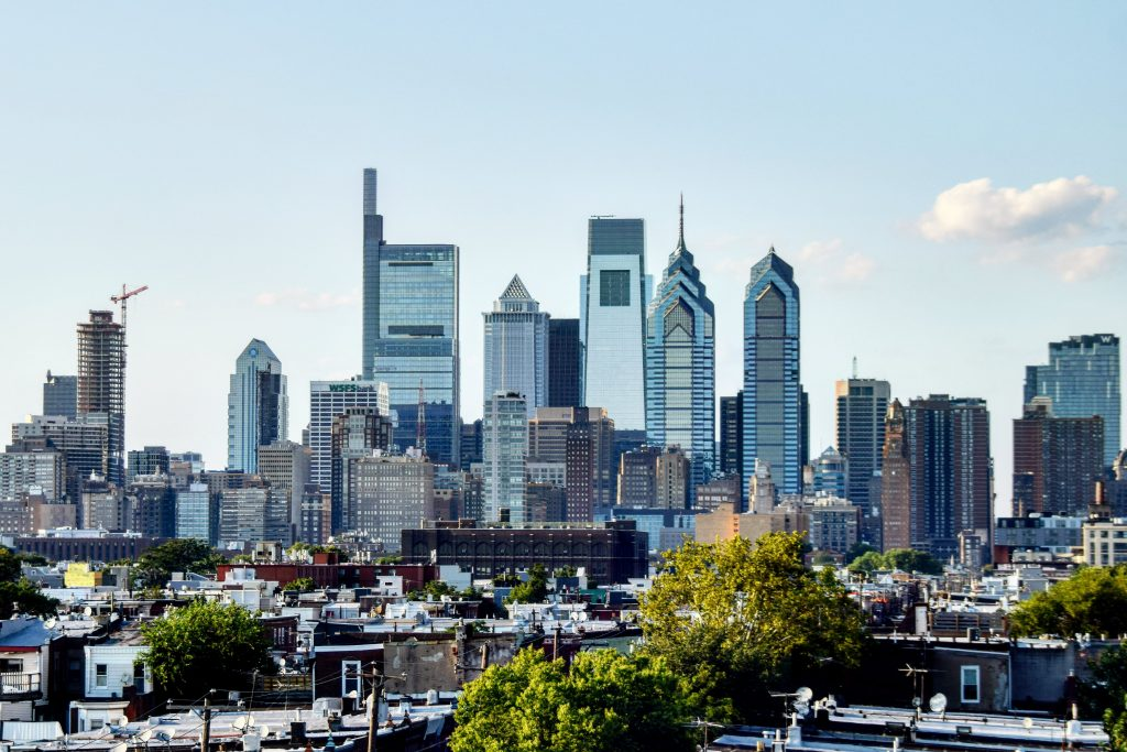The Laurel Rittenhouse and the Center City towers from South Philadelphia. Photo by Thomas Koloski